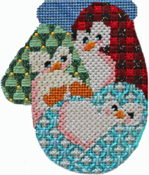 click here to view larger image of Mini Mitt Club - 3 Playful Penguins (hand painted canvases)