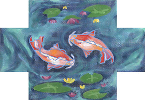 click here to view larger image of Koi Brick Cover (hand painted canvases)