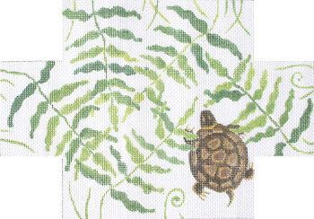 click here to view larger image of Fern and Turtle Brick Cover (hand painted canvases)