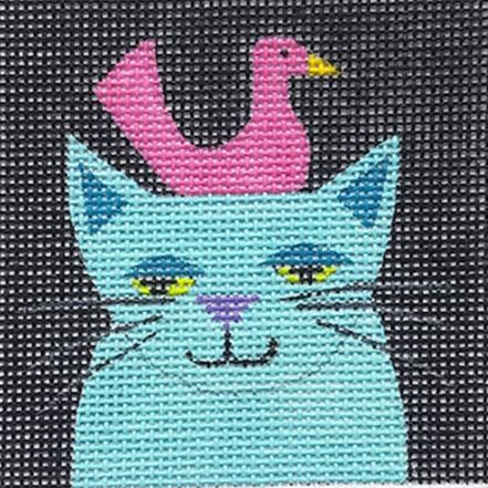 click here to view larger image of Aqua Cat w/Pink Swan (hand painted canvases)