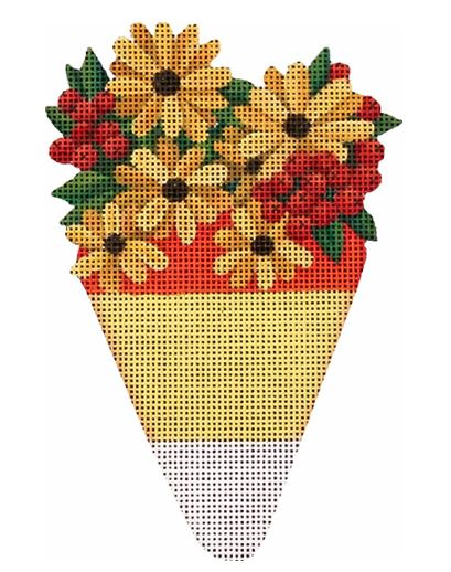 click here to view larger image of Candy Corn w/Daisies (hand painted canvases)