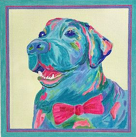 click here to view larger image of Blue Lab w/Pink Bow Tie (hand painted canvases 2)