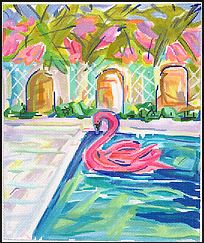click here to view larger image of Flamingo Floatie in Pool (hand painted canvases)