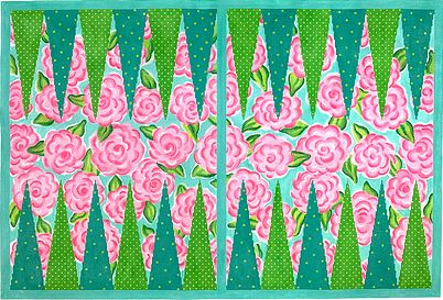 click here to view larger image of Lilly-inspired Roses Backgammon Board (hand painted canvases 2)