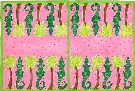 click here to view larger image of Lilly-inspired Gators and Palms Backgammon Board (hand painted canvases 2)