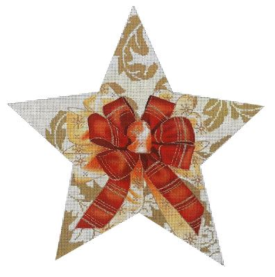 click here to view larger image of Gold Damask Tree Topper Star (hand painted canvases)
