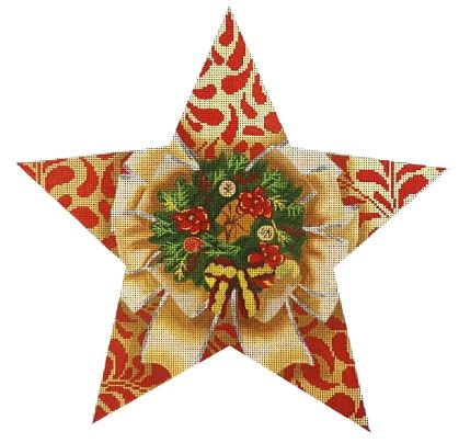 click here to view larger image of Wreath Tree Topper Star (hand painted canvases)