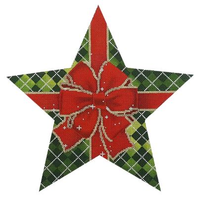 click here to view larger image of Argyle Tree Topper Star (hand painted canvases)