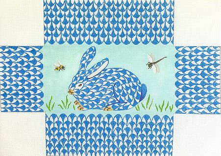 click here to view larger image of Blue Fishnet Bunny Brick Cover (hand painted canvases 2)