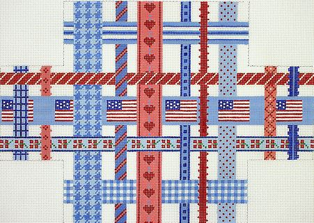 click here to view larger image of All American Ribbons Brick Cover (hand painted canvases 2)