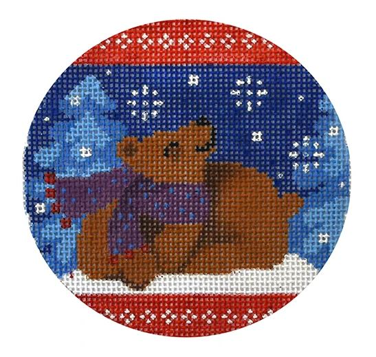 click here to view larger image of Folk Animals - Brown Bear (hand painted canvases)