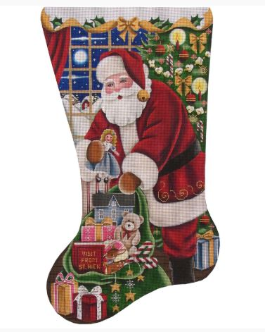 click here to view larger image of Girls Christmas Stocking (hand painted canvases)