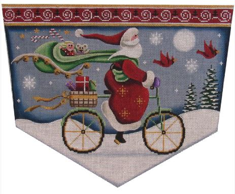 click here to view larger image of Bicycle Santa (hand painted canvases)