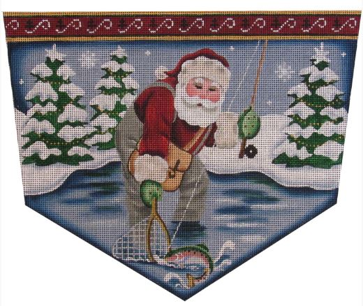 click here to view larger image of Fly Fishing Santa (hand painted canvases)