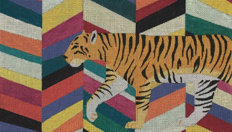 click here to view larger image of Stylized Tiger (hand painted canvases)