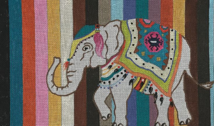 click here to view larger image of Elephant on Stripes (hand painted canvases)