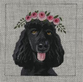 click here to view larger image of Black Poodle w/Floral Crown (hand painted canvases)