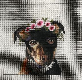 click here to view larger image of Black and Tan Terrier w/Floral Crown (hand painted canvases)