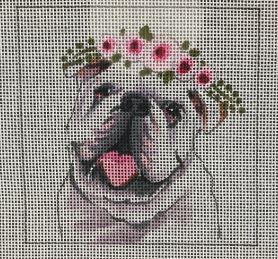 click here to view larger image of Bulldog w/Floral Crown (hand painted canvases)