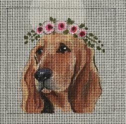 click here to view larger image of Bloodhound w/Floral Crown (hand painted canvases)
