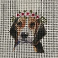 click here to view larger image of Beagle w/Floral Crown (hand painted canvases)