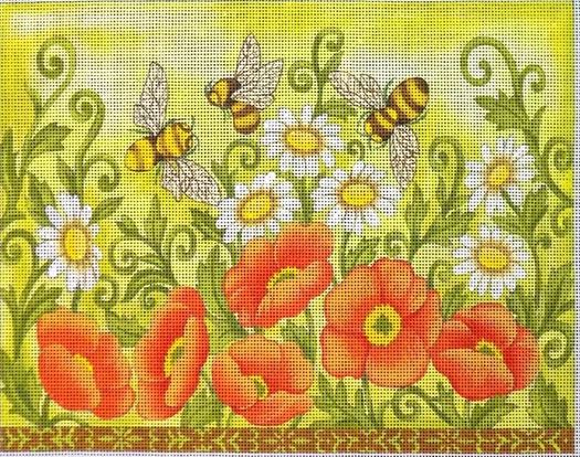 click here to view larger image of Bees and Wild Flowers (hand painted canvases)