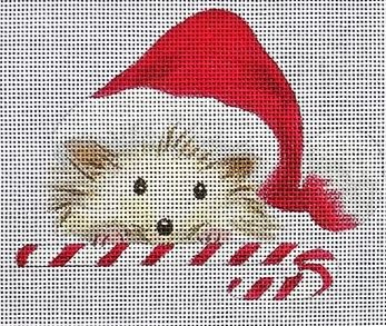 click here to view larger image of Hedgehog w/Candy Cane (hand painted canvases)