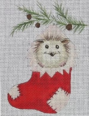 click here to view larger image of Hedgehog in Stocking (hand painted canvases)