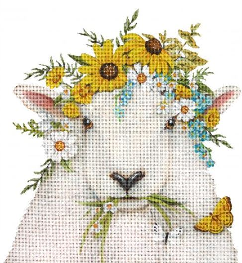 Floral Crowned Sheep hand painted canvases