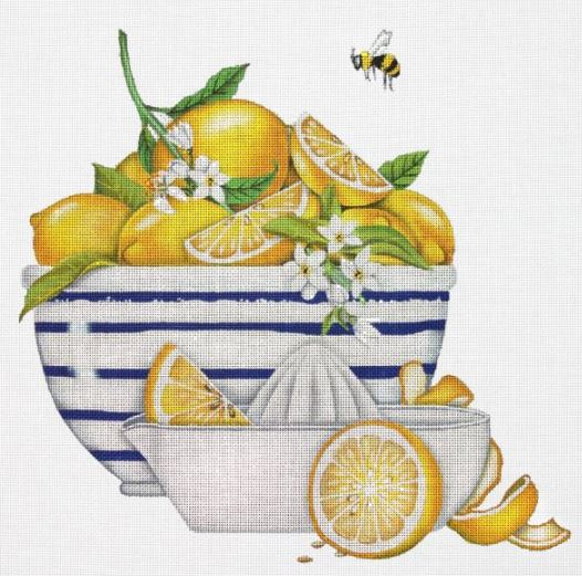 click here to view larger image of Lemon Bowl (hand painted canvases)