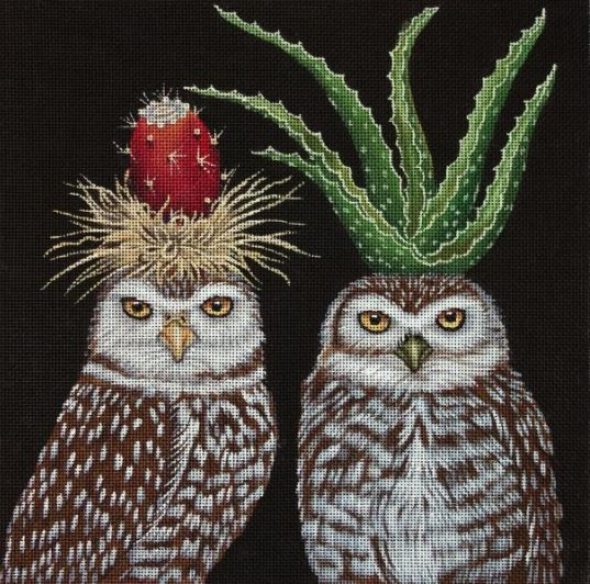 click here to view larger image of Aloe and Prickly Pear Owl (hand painted canvases)