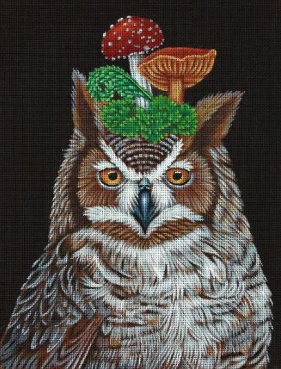 click here to view larger image of Great Horned Owl with Mushrooms (hand painted canvases)