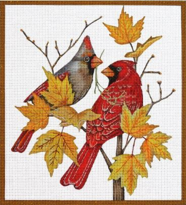 click here to view larger image of Autumn Cardinals (hand painted canvases)