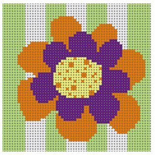 click here to view larger image of Orange and Purple Flower (hand painted canvases)