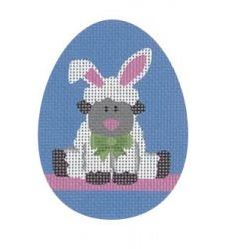 click here to view larger image of Bunny Lamb Flat Egg (hand painted canvases)