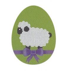click here to view larger image of Lamb w/Purple Bow Flat Egg (hand painted canvases)