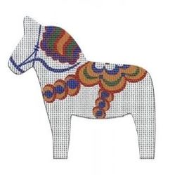 click here to view larger image of Dala Horse White (hand painted canvases)