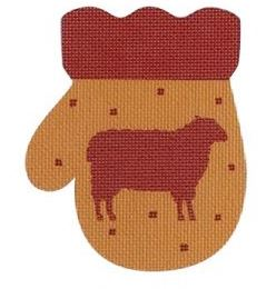 click here to view larger image of French Country Sheep Mitten - Red/Golden (hand painted canvases)
