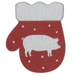 click here to view larger image of French Country Pig Mitten - Red/White (hand painted canvases)
