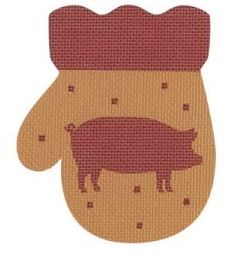 click here to view larger image of French Country Pig  Mitten - Red/Golden (hand painted canvases)