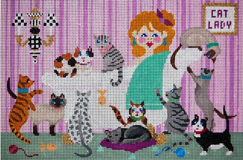 click here to view larger image of Cat Lady (hand painted canvases)
