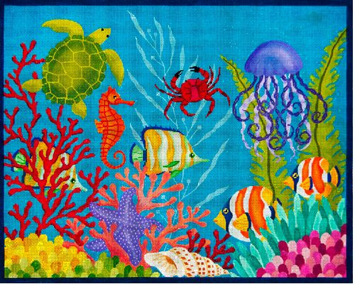 click here to view larger image of Down Under the Sea Rug (hand painted canvases)