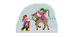 click here to view larger image of Santa Village - Elves Riding Dixon (hand painted canvases)