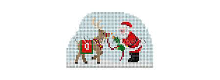 click here to view larger image of Santa Village - Santa Feeding Rudolph (hand painted canvases)