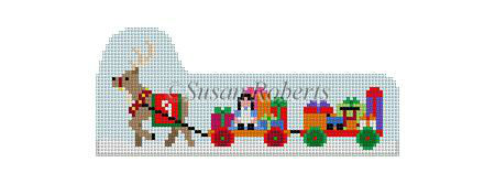 click here to view larger image of Santa Village - Prancer Pulling Toy Wagons (hand painted canvases)