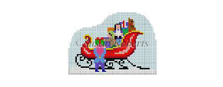 click here to view larger image of Santa Village - Elves Filling Sleigh (hand painted canvases)