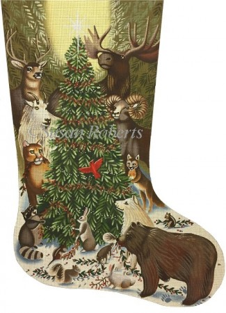 click here to view larger image of Woodland Animals Around Tree Stocking (hand painted canvases)