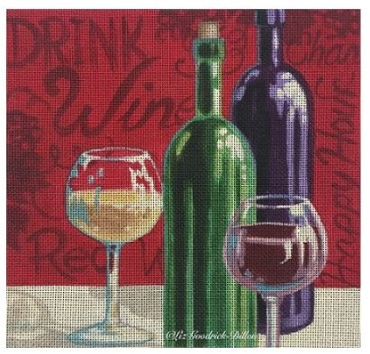 click here to view larger image of Wine Time (hand painted canvases)