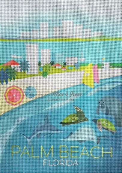 click here to view larger image of Palm Beach (hand painted canvases)