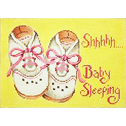 click here to view larger image of Shhh... With Baby Girl Shoes Sign  (hand painted canvases)